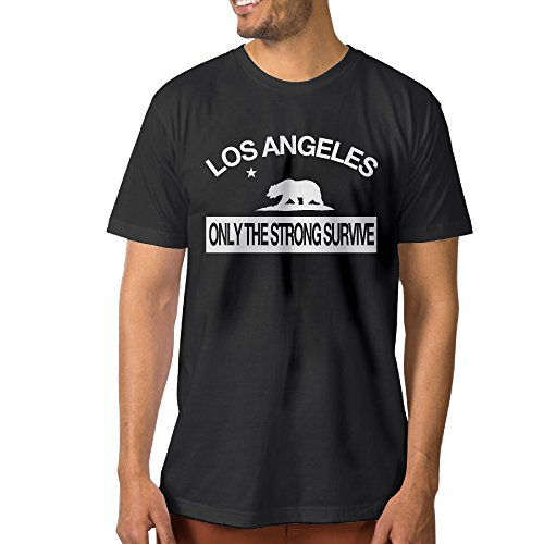 Los Angeles Only The Strong Survive Man's Short-Sleeve Crew Neck Black Shirt]()