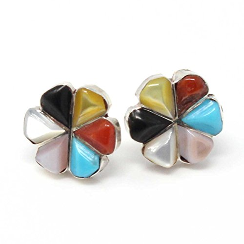 Muti Color Sterling Silver Inlay Flower Stud Earrings By Martinez