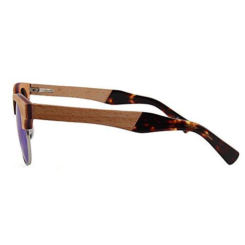 soleil main de soleil en Semi Rimless à lunettes UV de de soleil la soleil haute de bois plage polarisées lunettes ultra lunettes conduite qualité lunettes de légères Bleu femmes protection femmes Les Wzq86t0Awn