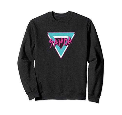 Mens 1970s Sweater (Unisex Samoa Retro Vintage Sweatshirt 70s Throwback Large Black)