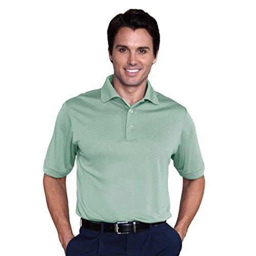 Monterey Club Mens Dry Swing Bamboo Charcoal Blend Texture Solid Dobby Shirt #1085 (Pistachio, Large) ()