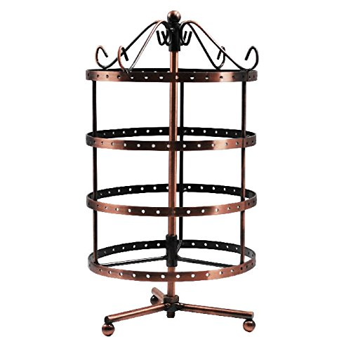 Jewelry Studs Spinning (K-Cliffs 4 Tiers Earring Holder 360 Degree Rotating Jewelry Tower Table Top 72 Pairs Earrings Display Rack Spinning Ear ring organizer Necklace Hanger Stand Antique Copper)