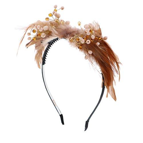 - Fancy Feather Party Wedding Paegent Beaded Headband (Burnt Orange)