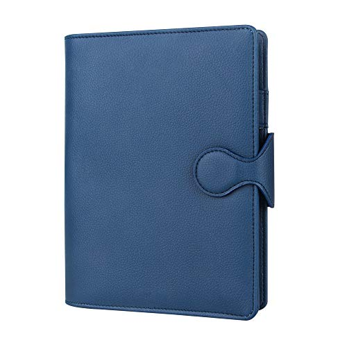 (Grope Travel A5 Planner Inserts 6 Ring Binder Refillable Journals to Write in for Men Soft PU Leather Cover Business Loose Leaf Notebook with Card Slots, Pen Holder (Royal Blue))