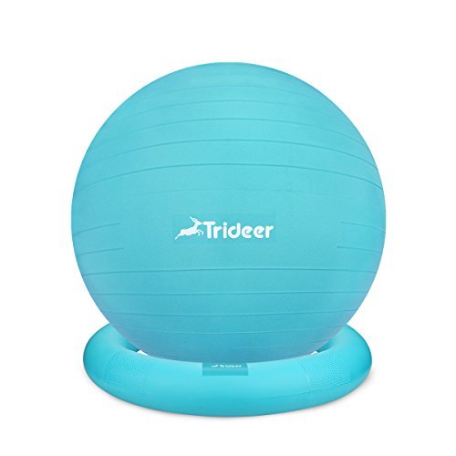Trideer Ball Chair – Exercise Stability Yoga Ball with Base for Home and Office Desk, Ball Seat, Flexible Seating with Ring & Pump, Improves Balance, Back Pain, Core Strength & Posture(Ball with Ring by Trideer (Image #1)