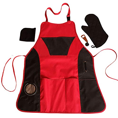 (Lifestyle Banquet Apron with Beer Holder, Bottle Opener and Oven Mitt)