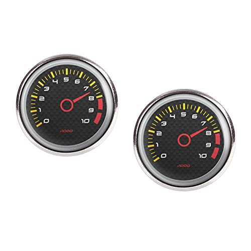 (Stud Earring Pair with Cabochon Picture Speed ??meter tachometer RPM revolutions instrument display Carbon silver 0.63 inch)