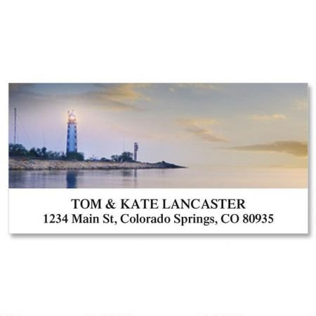 Seascape and Lighthouse Personalized Return Address Labels- Set of 144, Large Self-Adhesive, Flat-Sheet Labels, By Colorful Images