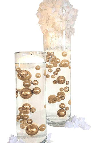 4 Packs Sale No Hole Soft Gold Pearls- Jumbo/Assorted Sizes Vase Decorations - to Float The Pearls Order The Floating Packs from The Options -