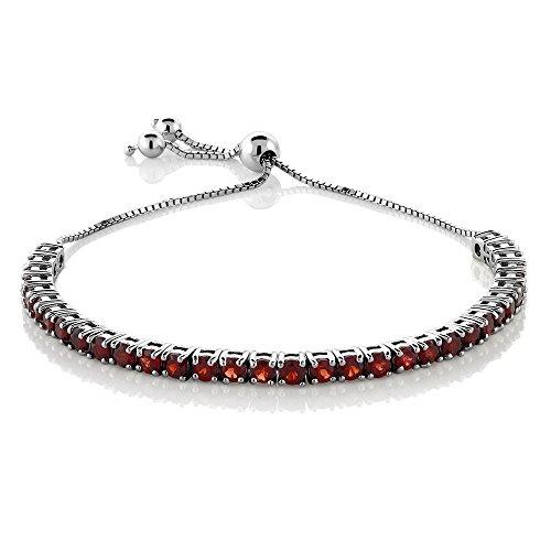 925 Sterling Silver Red Garnet Gemstone Birthstone Women's Adjustable Tennis Bracelet (4.50 Cttw, 3MM Round Garnet)