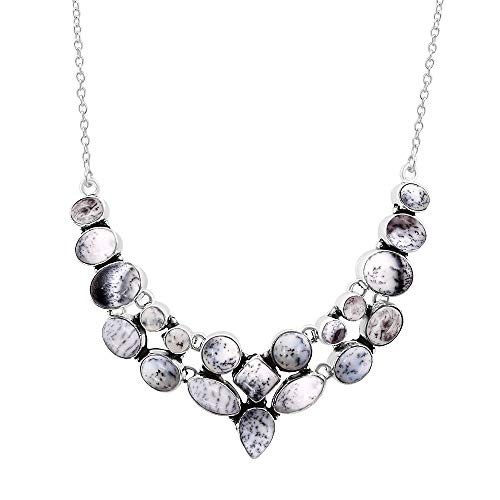 (Natural Multi Shape Dendrite Opal Necklace 925 Silver Overlay Handmade Vintage Style Fashion Jewelry for Women Girls)