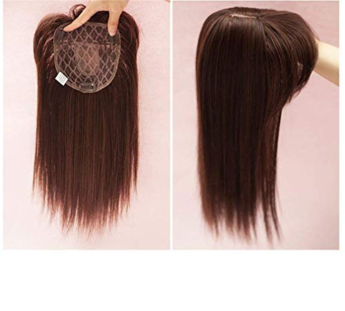 Synthetic Human Straight Hair Hairpiece Clip in/on Hair Topper for Hair Loss with Air Bangs Dark brown 14 Inches Yudit (Thine style)