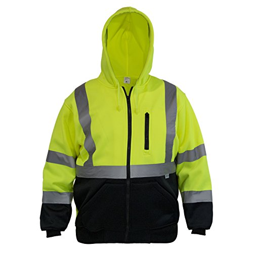 JORESTECH High Visibility Hoodie Full Zipper 100% Polyester ANSI Class 3 (Small) ()