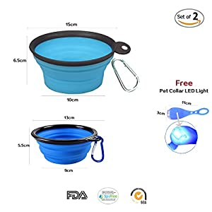 well-wreapped ALIWELL Silicone Collapsible Dog Bowls - Food-grade and BPA-free Dog Bowls, Pet Bowls, Cat Bowls, Travel Bowls, Foldable Bowl, Set of 2, Dog Collar LED Light