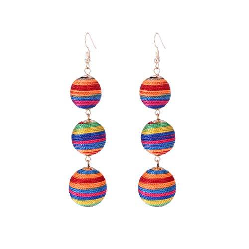(Jocund Women Solid Color Three Balls Stripe Cute Girl Earring)