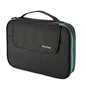 "ProCase Universal Electronics Accessories Organizer Bag, Double Layer Travel Gadgets Cable Carrying Case Handy Gear Storage Pouch for 9.7"" iPad Power Adapter Charger Power Bank Hard Drive –Black"