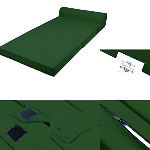 Dark Green Foam Seat Mattress Sleeper Chair Folding Floor Bed Kid Bed 3 Sizes (Full) by Magshion Futon Furniture
