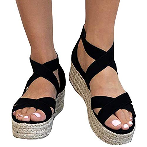 Athlefit Women's Criss Cross Strap Platform Sandals Band Open Toe Ankle Buckle Espadrille Sandals Size 7.5 ()