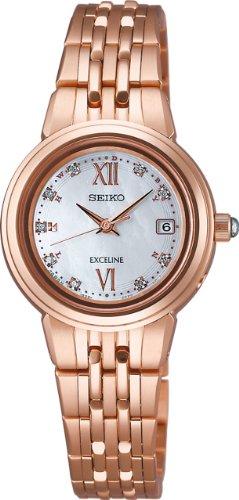 SEIKO EXCELINE (SWCW060) White shell dial diamonds Titanium Case WOMEN'S WATCH