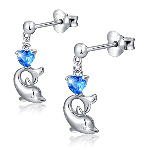 925 Sterling Silver Cubic Zirconia Blue Cz Heart Dolphin Stud Earrings for Women (Sterling Dolphin Heart Silver)