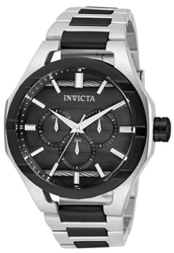 Invicta Men's Bolt Quartz Watch with Stainless Steel Strap, Silver and Black, 26 (Model: 31828)