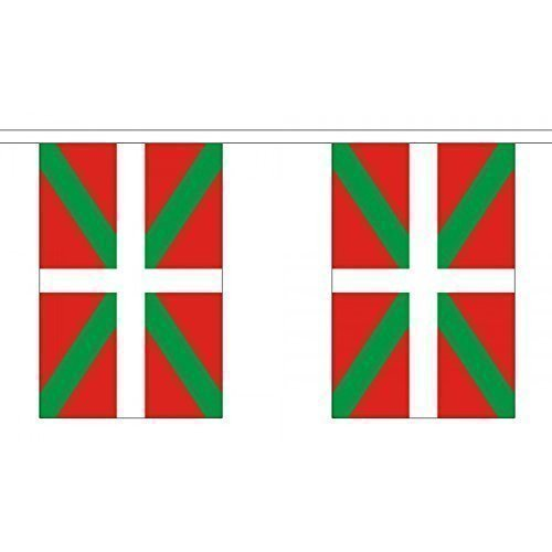 3 Metres 10 (9'' x 6'') Flag Basque Spain Spanish 100% Polyester Material Bunting Ideal Party Decoration For Street House Pubs Clubs Schools by UKFlagShop