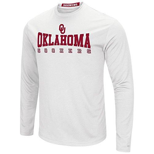 Colosseum Men's NCAA-Streamer Long Sleeve T-Shirt-Oklahoma Sooners-White-Large