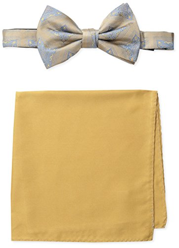 Steve Harvey Men's Medallion Bowtie and Solid Pocket Square, Ecru, One Size (Tie Medallion Bow)