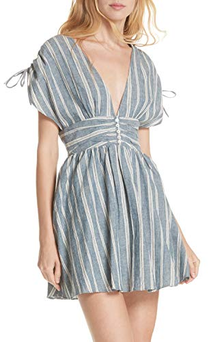 Free People Women's Roll The Dice Dress, Blue, Small