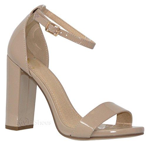 MVE Shoes Women's Stiletto Pumps High Heels Open Toe Ankle Strap Platform, Dk NAT Pat Size ()