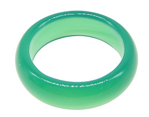 SUNNYHER Natural Green Agate Gemstone Plain Band Ring (9) ()