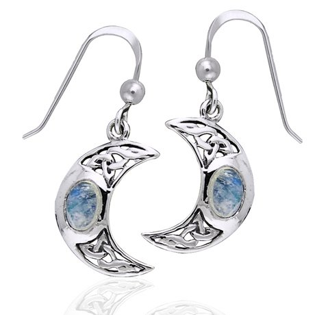 Celtic Knot and Crescent Moon Spirit with Genuine Rainbow Moonstone Sterling Silver Hook Earrings