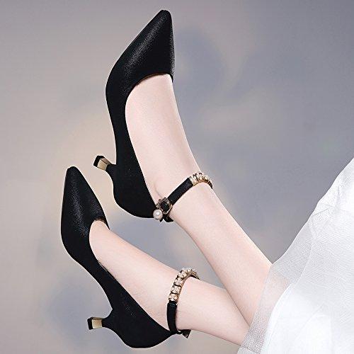 Gruesos Único Tacones de De white Zapatos Profunda De Boca Tacon Agua Pretty Zapatos Clavos De Alto De Medio Zapatos Hebillas Taladro KPHY Tacón Señoras mujer Zapatos gwpxFBBqS