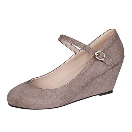 (Shusuen Women's Wedge Sandals Round Toe Platform Sandals High Heels Khaki)