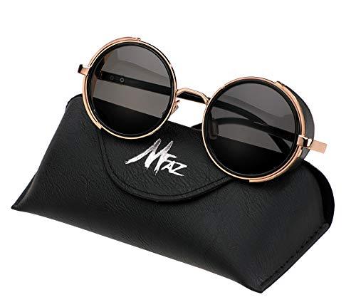 Goggle de Black de Lunettes Morefaz Rond Steampunk MFAZ Gold Femme Lentille Homme Ltd Cyber Soleil Miroir Lunettes Cas Ypawqv