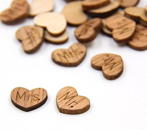 100 Pcs Mr. Mrs. Heart Shape Wedding Confetti Wood Party Table Decoration