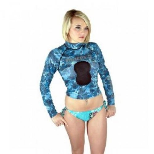 Blue Mens Rash Guard (Mares Spearfishing Freediving Rash Guard Top with Chest Pad, Blue Camo, Small)