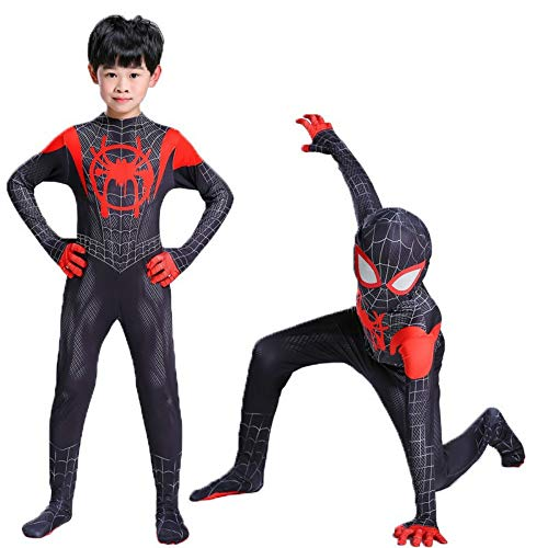 Cavalaria Toddler Kids Spider Verse Miles Morales Jumpsuit Bodysuit Kids and Adult Black Spider Tights Zentai Costume -