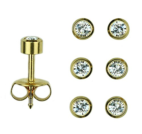 old Over Surgical Stainless Steel April RD3.0mm Bezel Setting Stud Earrings (24k Gold Set)