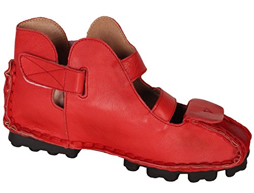 sandalias cuero para 1 genuino de mano vintage estilo a hechos verano Red mujer Vogstyle de Nueva Pisos R85Cqq