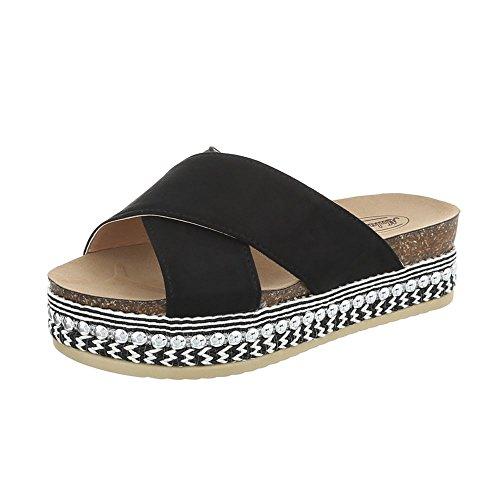 Ital-Design Zapatos Para Mujer Sandalias de Vestir Plano Zuecos Negro G-79