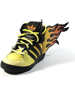 Toddler JS Flames I Black/Orange Running Fire Shoes D65987 size 4k