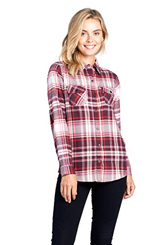 - ICONICC Women's Long Sleeve Plaid Flannel Shirt (CT0030_NP23_L)
