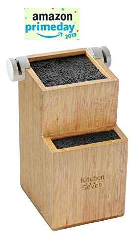 Bamboo Universal Knife Block - Knife Holder with 2 Built-In Knife Sharpeners 2-Tiered Modern Knife Storage Up to 16 Large and Small Knives Easy Clean Wooden Knife Organizer by Kitchen Seven