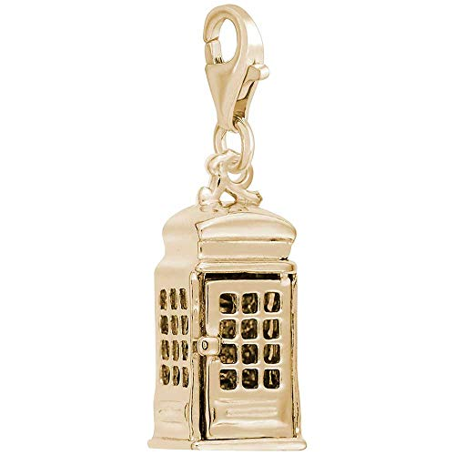 (Rembrandt Charms Telephone Booth Charm with Lobster Clasp, Gold Plated Silver)