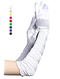 """BABEYOND 1920s Satin Gloves Wrist Length 20.5"""" (Long Wave Pleated 20.5in/White))"""