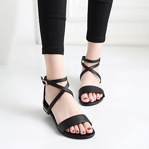 De De Estudiante Cuero Zapatos Mujer De Verano De Sandalias Black 2018 xAY6qBF
