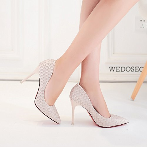Shoes Interview Match Work Fine Apricot Heeled All Leisure With Spring Sexy Lady High 35 Pointed Shoes Work Elegant MDRW 10Cm TqBRwxazE