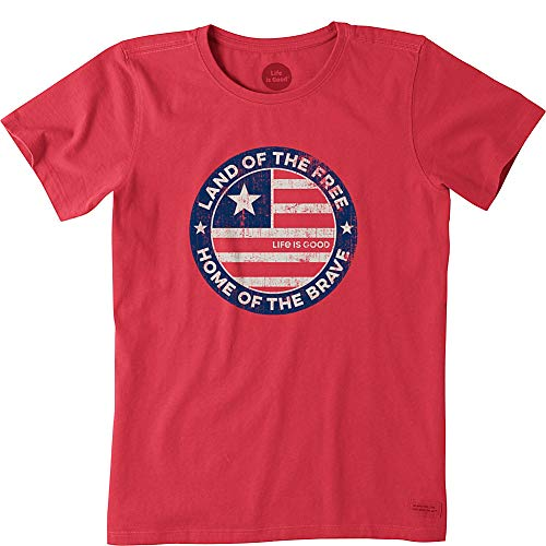 Life is Good Womens USA America Graphic T-Shirt Crusher Collection,Americana Red,X-Small