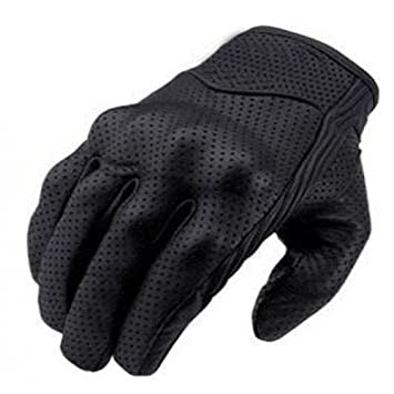 Black Bikers Gear Australia Short Soft Leather Summer Perforated Motorcycle Gloves Size M
